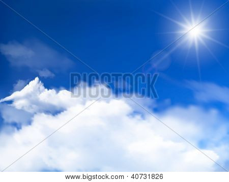Blue sky with clouds and sun. Raster version of vector.