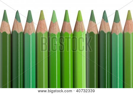 Green Pencils Isolated On White Background