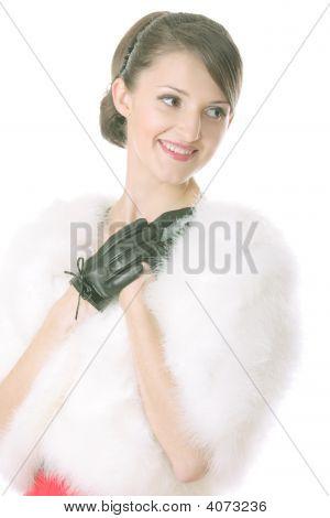 Smiling Girl In Fur Coat