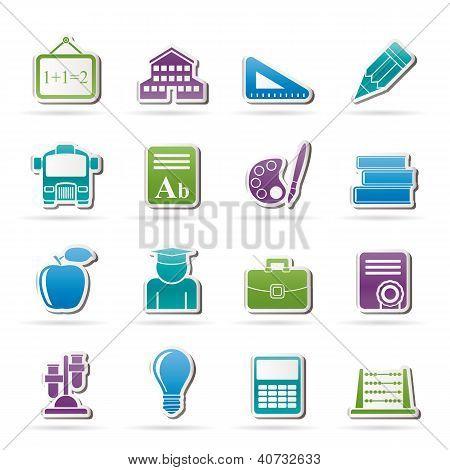 ícones de escola e educação