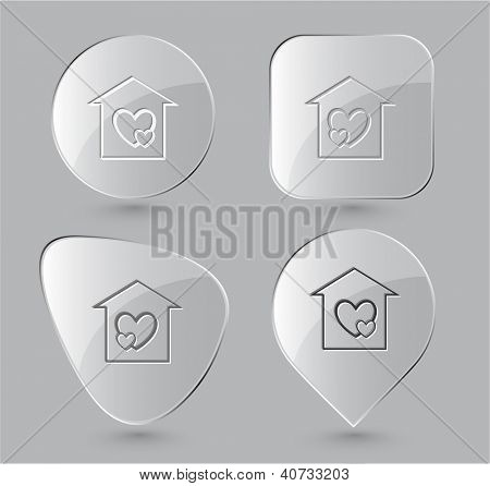 Orphanage. Glass buttons. Raster illustration.