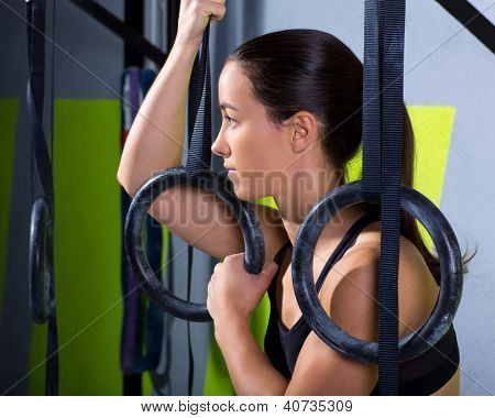dip ring woman relaxed after workout at gym dipping exercise
