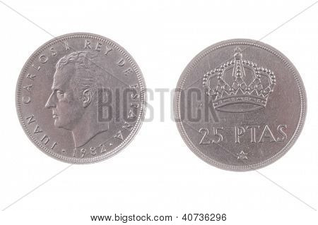 1982 Juan Carlos era Spanish 25 Pesetas coin isolated on white