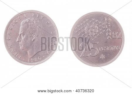 1980 Juan Carlos era Spanish 25 Pesetas celebrating the 1982 World cup coin isolated on white