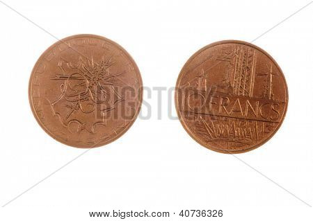 Pre EEC French 10 Francs coin isolated on white