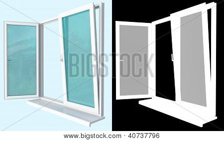 Plastic Window With An Open Flap A Mask