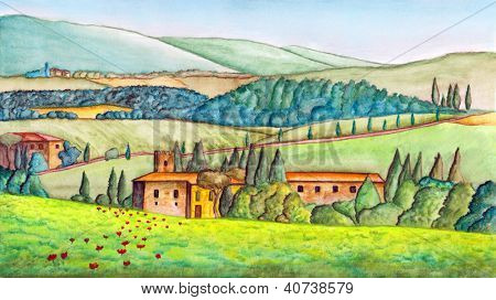 Beautiful italian country landscape, painted in watercolor. Original illustration.
