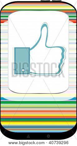 Handy mit gleichartigen Symbol auf weißem Grund