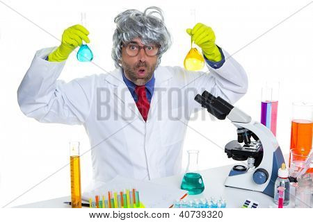 Crazy nerd scientist silly man gray hair on chemical laboratory