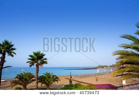 Las vistas beach Arona in costa Adeje Tenerife south at Canary Islands