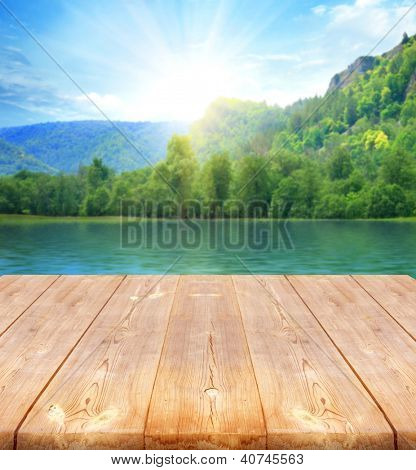 background with wooden bridge and sea