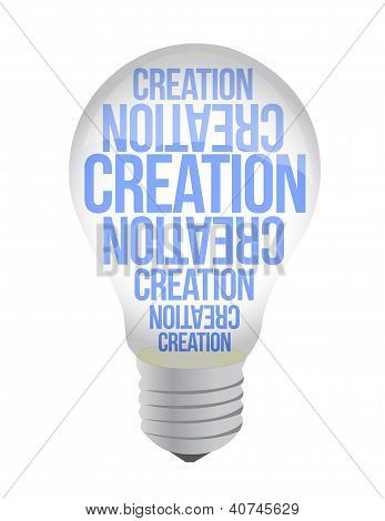 Light Bulb With Creation Text