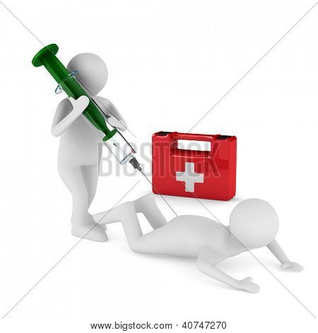 doctor does injection to patient. Isolated 3D image