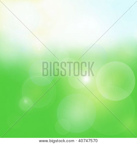 Spring Bright Green Background With Bubbles And Glow