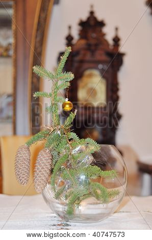 Christmas Background, Christmas Tree Branch With Cones