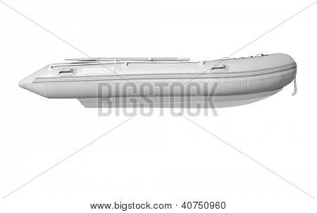 isolated inflatable boat on white background with path, sideview