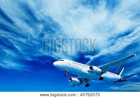 Aircraft On A Cloudy Sky Background