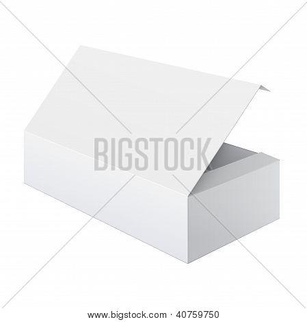 Blanco en blanco paquete caja abierta para los dispositivos electrónicos y otros productos. Ilustración de Vector