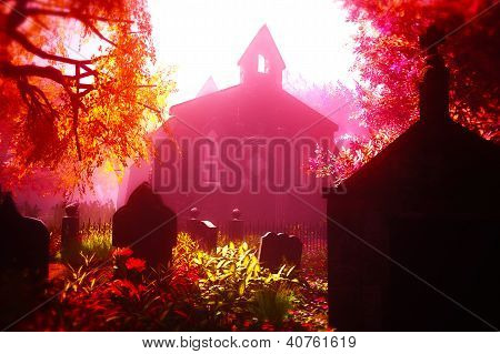 Autumn in Cemetery 3D render