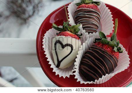 Trio of delicious strawberries