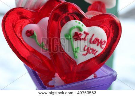 Red sugar valentine's lollipops
