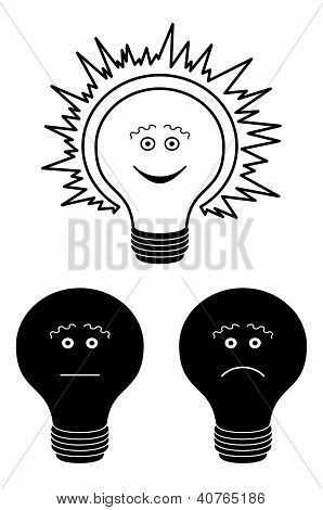 Set of electric bulbs, bright on top, outline