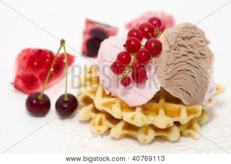 Dessert Consist Of Currant, Ice-cream, Cherry And Waffles