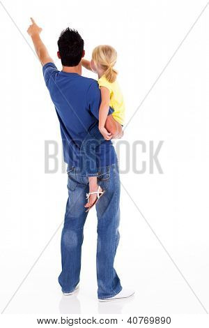 rear view of young father and daughter pointing
