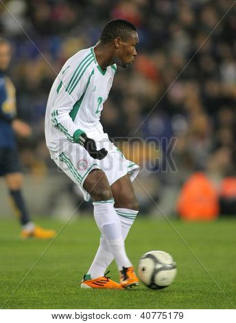 BARCELONA - JAN, 2: Nigerian player Godfrey Oboabona in action during the friendly match between Catalonia and Nigeria at Estadi Cornella on January 2, 2013 in Barcelona, Spain