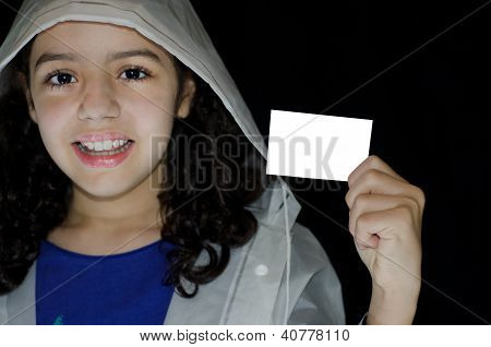 Child holding greeting card