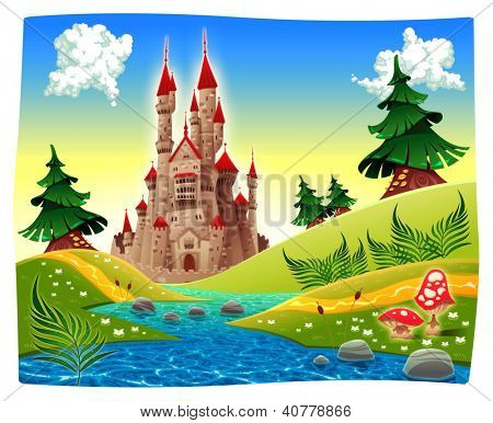 Panorama con castillo. Trama, Ilustración de dibujos animados ...