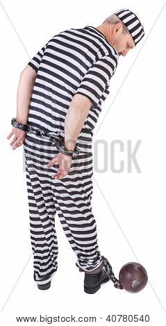 Prisoner On White - View From Behind