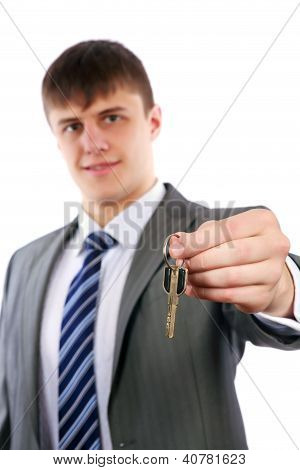 Young Realtor Handing Keys