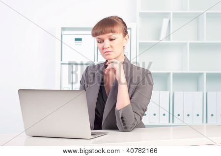 woman works in the office
