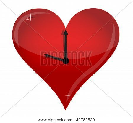Red Heart On White Background