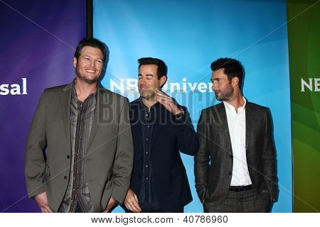 LOS ANGELES - JAN 6:  Blake Shelton, Carson Daly, Adam Levine attends the NBCUniversal 2013 TCA Winter Press Tour at Langham Huntington Hotel on January 6, 2013 in Pasadena, CA