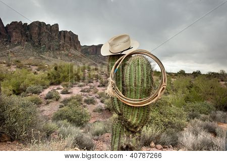 A moody image of a lasso and cowboy hat hanging on saguaro cactus in the Superstition Mountains in Arizona.
