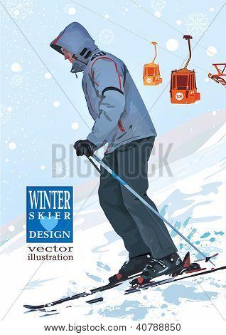 Skier, winter sports vector illustration