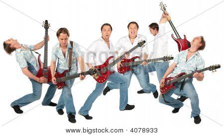 viele Gitarristen Gruppe isoliert