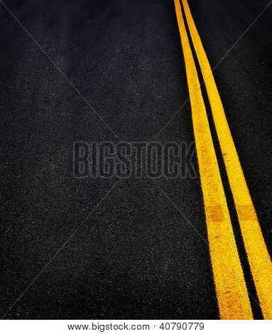 Road with painted double yellow lines