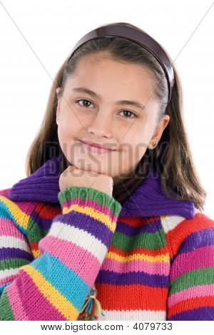 Adorable Girl With Woolen Jacket Thinking