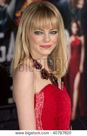 LOS ANGELES, CA - JANUARY 7: Emma Stone arrives at the premiere of Gangster Squad at Grauman's Chinese Theatre in Los Angeles, CA on January 7, 2013