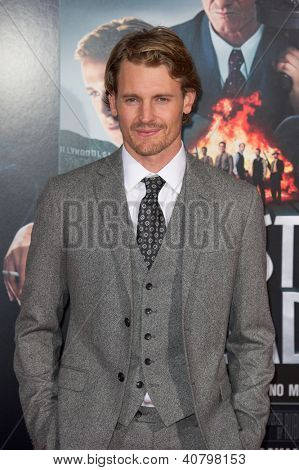 LOS ANGELES, CA - JANUARY 7: Josh Pence arrives at the premiere of Gangster Squad at Grauman's Chinese Theatre in Los Angeles, CA on January 7, 2013