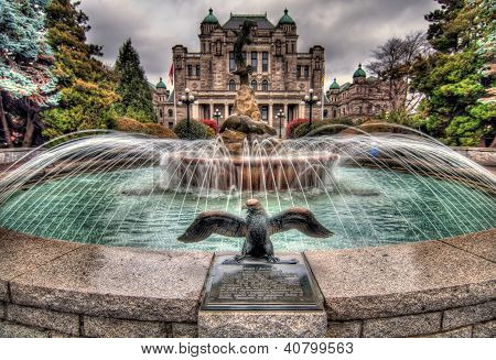 Fountain In Front Of British Columbia Government Parliament Building