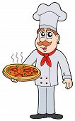 image of chefs hat  - Chef with big hot pizza  - JPG