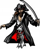 stock photo of raider  - Pirate Captain holding a sword and wearing hat Graphic Vector Image - JPG