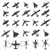 stock photo of propeller plane  - Collection of  different airplane icons - JPG