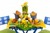 picture of duck egg blue  - Easter table with breakfast or lunch on garden furniture - JPG