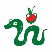 picture of adam eve  - Snake and Apple reptile fruit sin paradise eden - JPG