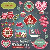 stock photo of cupid  - Collection of valentine design and wedding labels - JPG